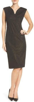 ECI Women's Metallic Ponte Sheath Dress