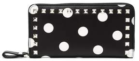 Valentino Rockstud Polka Dot Leather Continental Wallet - Womens - Black White