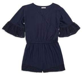 Ella Moss Girl's Voile Lace-Trimmed Bell-Sleeve Romper