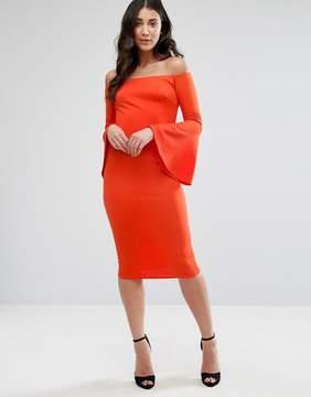 Club L Bardot Long Sleeve Flute Detail Dress