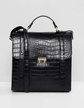 Asos DESIGN push lock satchel in croc