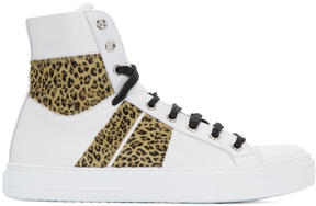 Amiri White and Leopard Sunset High-Top Sneakers
