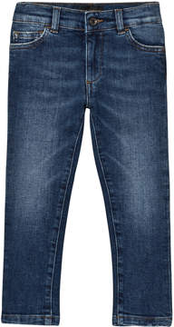 Dolce & Gabbana Blue Mid Wash Slim Fit Jeans with Branded Plaque