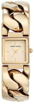 Anne Klein Goldtone Square Dial Chain Bracelet Watch