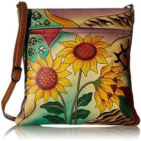 Anuschka Anna by Genuine Leather Slim Crossbody Bag | Hand-Painted Original Artwork |