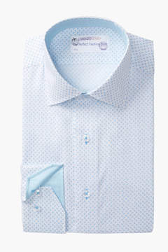 Lorenzo Uomo Rectangle Printed Trim Fit Dress Shirt