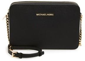 MICHAEL Michael Kors 'Large Jet Set' East/west Saffiano Crossbody Bag - Black - BLACK - STYLE