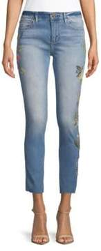 Driftwood Floral Embroidered Raw-Hem Jeans