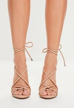 Missguided Nude Rounded Strap Gladiator Heeled Sandals