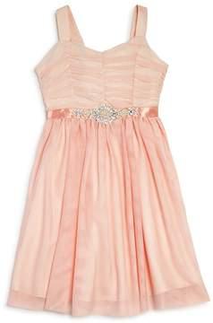Us Angels Girls' Ruched Mesh Dress - Big Kid