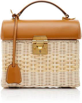 Mark Cross Sara Leather-Trimmed Rattan Bag