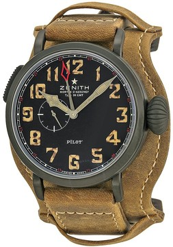 Zenith Pilot Montre d Aeronef Type 20 GMT Automatic Black Dial Calfskin Leather Men's Watch