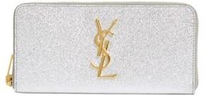 Saint Laurent Women's 'Monogram - Metallic' Zip Around Leather Wallet - Metallic - METALLIC - STYLE