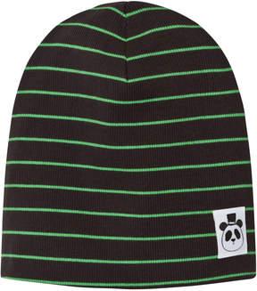 Mini Rodini Black and Green Ribbed Stripe Beanie