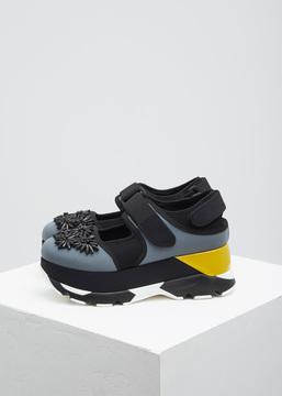 Marni Grey / Black / Yellow Platform Sneaker Shoe