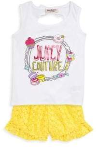 Juicy Couture Girl's Two-Piece Graphic Top and Lace Shorts Set