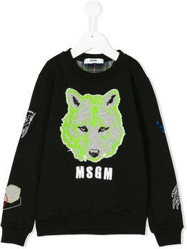 MSGM wolf embroidered sweatshirt