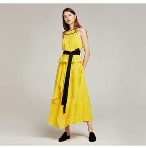 Amanda Wakeley   Lemon Yellow Chiffon Fil Coupe Layered Dress   Xl   Yellow