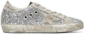Golden Goose Deluxe Brand SSENSE Exclusive Silver Glitter Superstar Sneakers