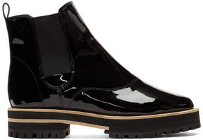 Repetto Black Patent Graham Lug Sole Chelsea Boots