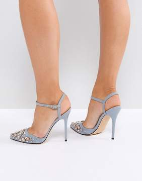 Office gray embellished heeled shoes
