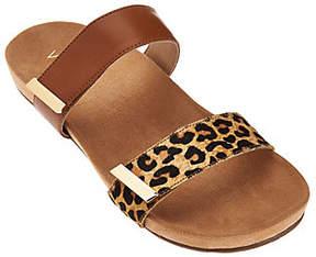 Vionic Orthotic Leather and Haircalf Slide Sandals - Jura