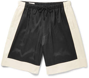 Dries Van Noten Colour-Block Satin-Twill Shorts