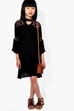 boohoo Girls Boutique Embroidered Smock Dress