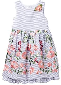Laura Ashley Embroidered Sleevelss Dress (Toddler & Little Girls)