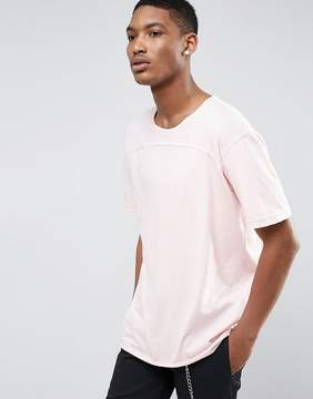 Pull&Bear Longline T-Shirt In Washed Pink