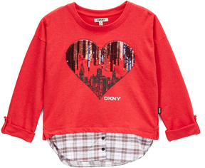 DKNY True Red Sequin Heart Layered Top - Toddler & Girls