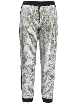 Christian Pellizzari Metallic Silver Regular Jogging Pants.