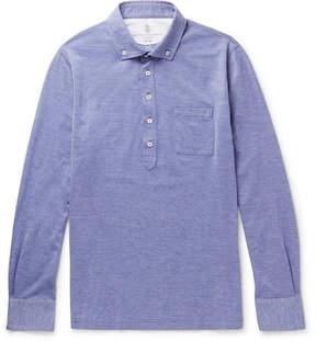 Brunello Cucinelli Button-Down Collar Mélange Cotton-Piqué Polo Shirt