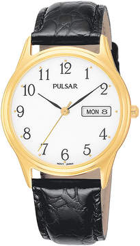 Pulsar Mens Black Leather-Strap Watch PXN080