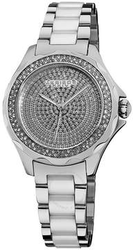 Akribos XXIV Akribos Diamond Silver-Tone Steel and White Ceramic Ladies Watch