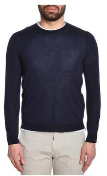 H953 Men's Blue Silk Sweater.