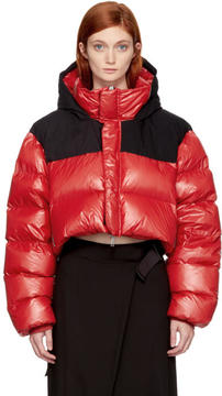 Unravel Red and Black Down Cropped Jacket
