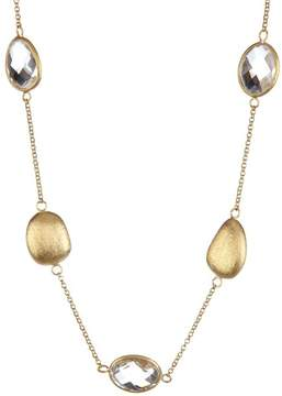 Rivka Friedman 18K Gold Clad Pebble & Faceted Rock Crystal Station Necklace
