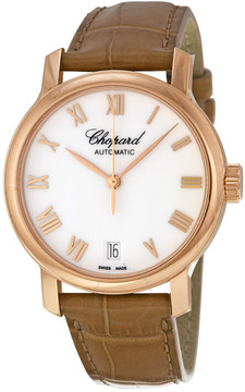 Chopard Classic White Dial 18kt Rose Gold Automatic Ladies Watch