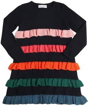 Sonia Rykiel Wool Blend Knit Dress W/ Ruffles