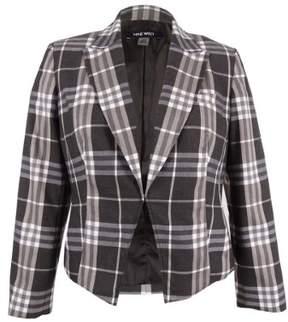 Nine West Women's Plaid Open-Front Blazer 14, Mink Multi