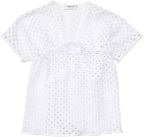 Milly Minis Short-Sleeve Netted Swim Coverup, White, Size 8-14