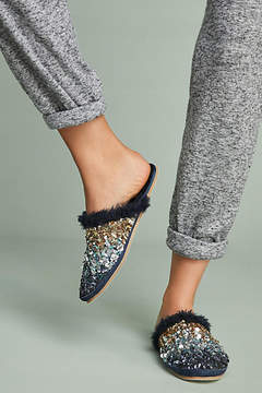 Anthropologie Ombre Sequin Slide Slippers