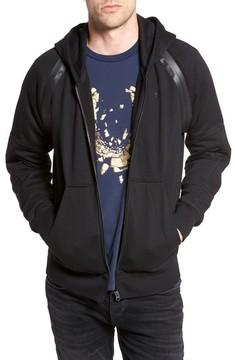 G Star Men's Rackam Zip Hoodie With Faux Leather Trim