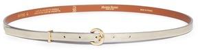 MAISON BOINET Metallic cowhide leather skinny belt