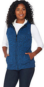 Denim & Co. As Is Zip Front Hooded Sweater Vest with Sherpa Lining