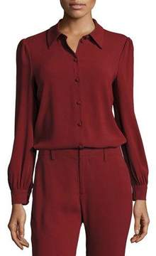 Co Classic Puff-Sleeve Crepe Blouse