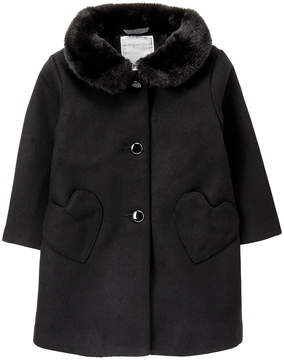 Gymboree Black Faux Fur-Trim Swing Coat - Infant, Toddler & Girls