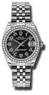 Rolex Datejust Lady 31 Black Concentric Circle Dial Stainless Steel Jubilee Bracelet Automatic Watch