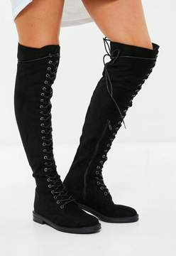 Missguided Black Lace Up Over The Knee Boots
